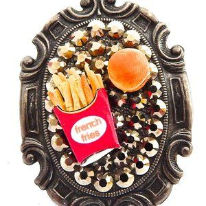 CHEESEBURGER & FRIES SWAROVSKI RHINESTONE RING